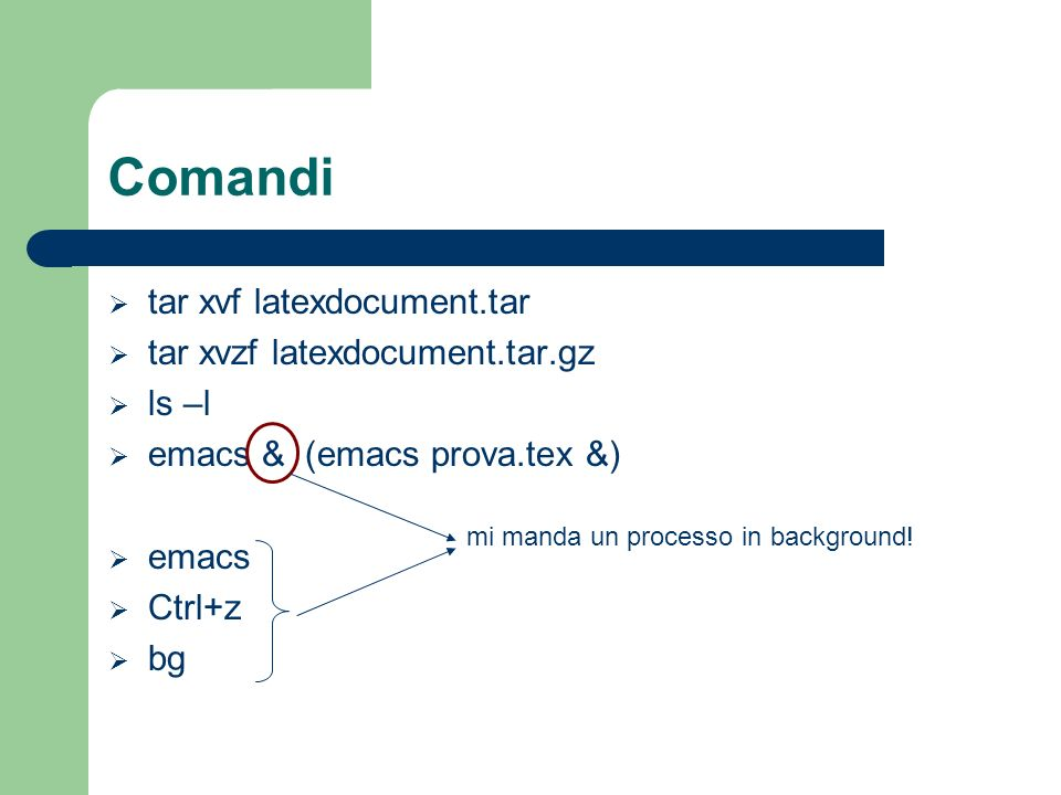 Comandi tar xvf latexdocument.tar tar xvzf latexdocument.tar.gz ls –l