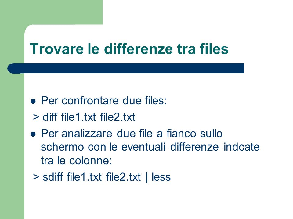Trovare le differenze tra files