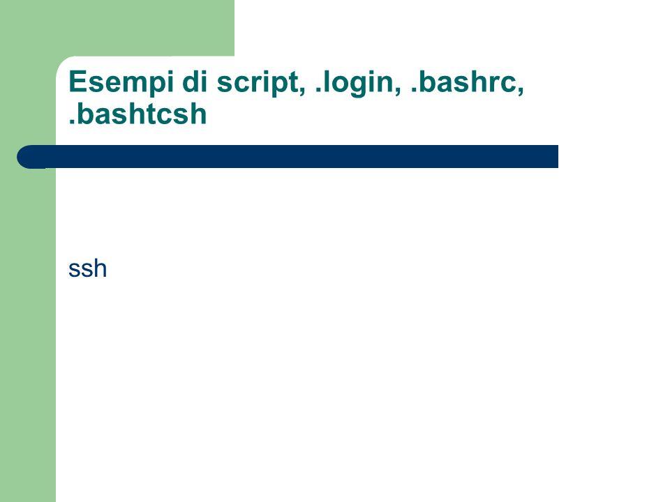 Esempi di script, .login, .bashrc, .bashtcsh