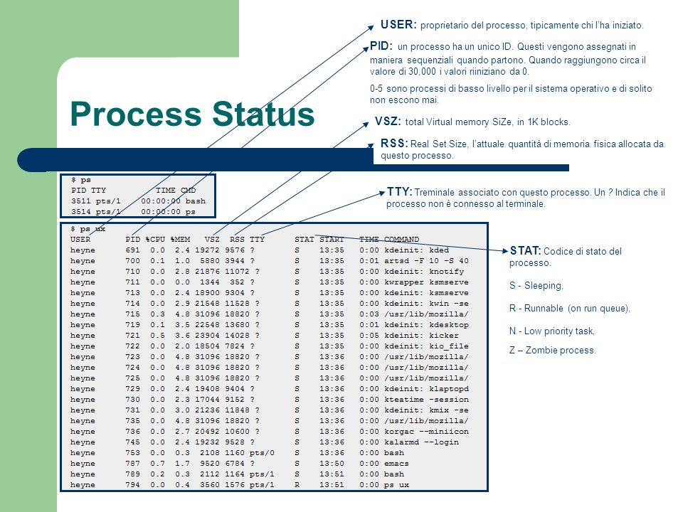USER: proprietario del processo, tipicamente chi l'ha iniziato.
