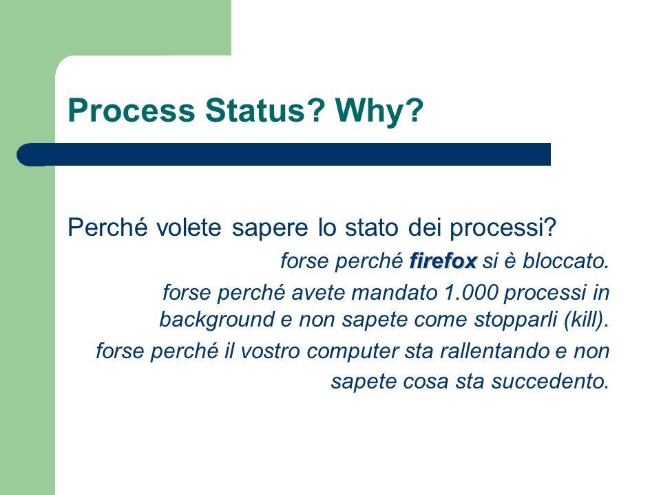 Process Status Why Perché volete sapere lo stato dei processi