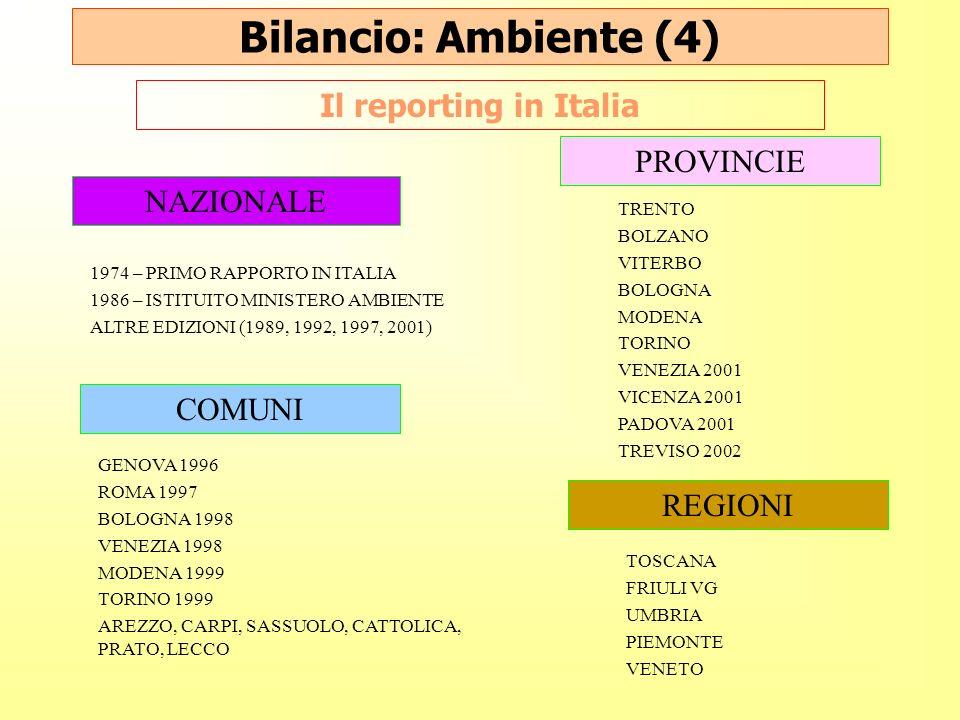 Bilancio: Ambiente (4) Il reporting in Italia PROVINCIE NAZIONALE