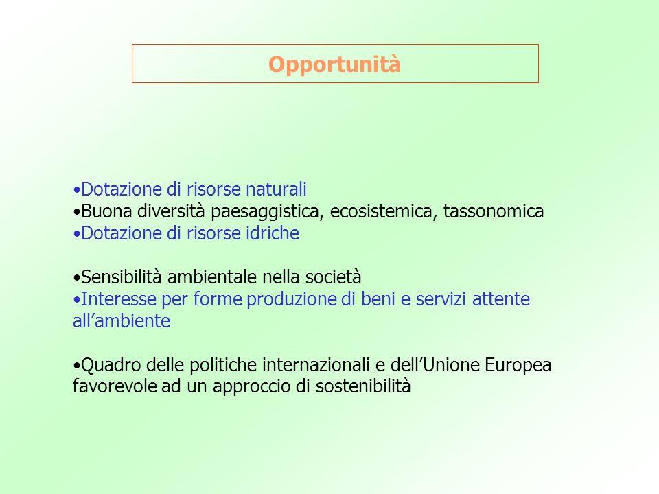 Opportunità Dotazione di risorse naturali