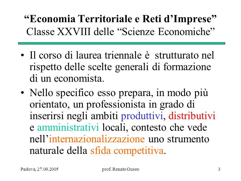 Economia Territoriale e Reti d'Imprese Classe XXVIII delle Scienze Economiche
