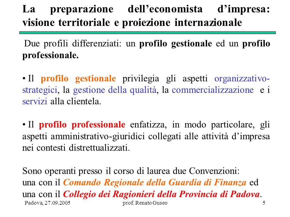 La preparazione dell'economista d'impresa: visione territoriale e proiezione internazionale