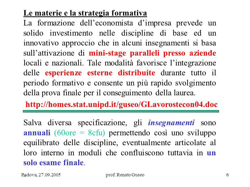 Le materie e la strategia formativa