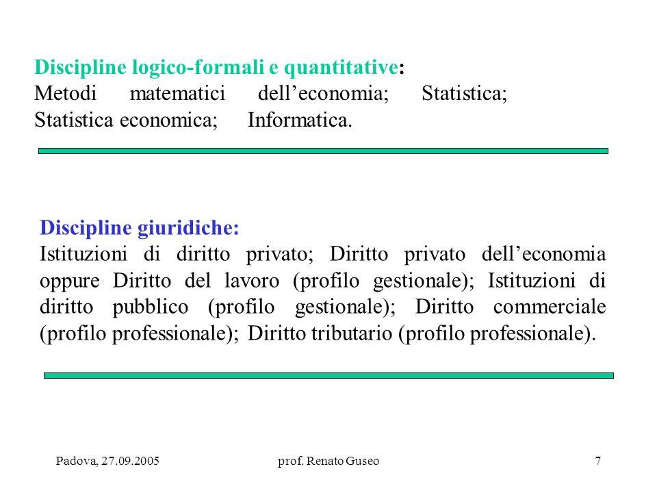 Discipline logico-formali e quantitative: