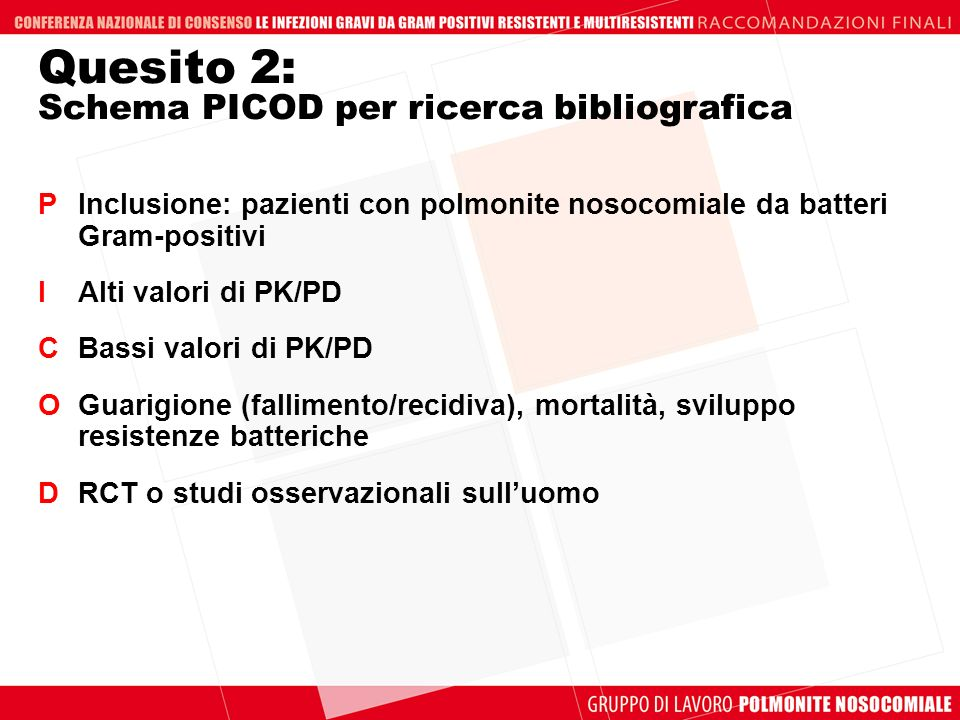Quesito 2: Schema PICOD per ricerca bibliografica