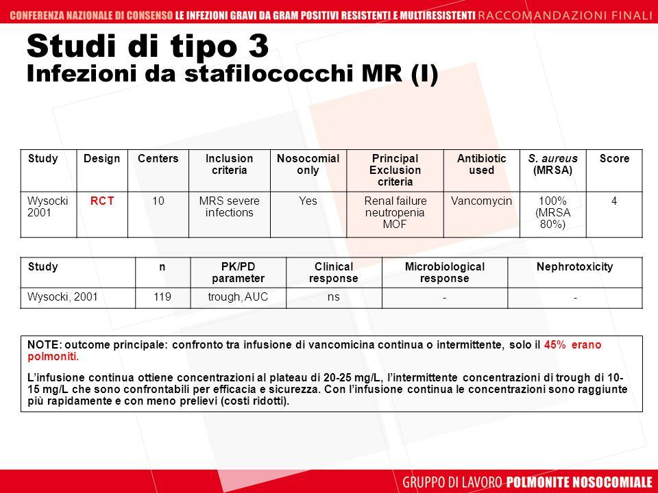 Studi di tipo 3 Infezioni da stafilococchi MR (I)