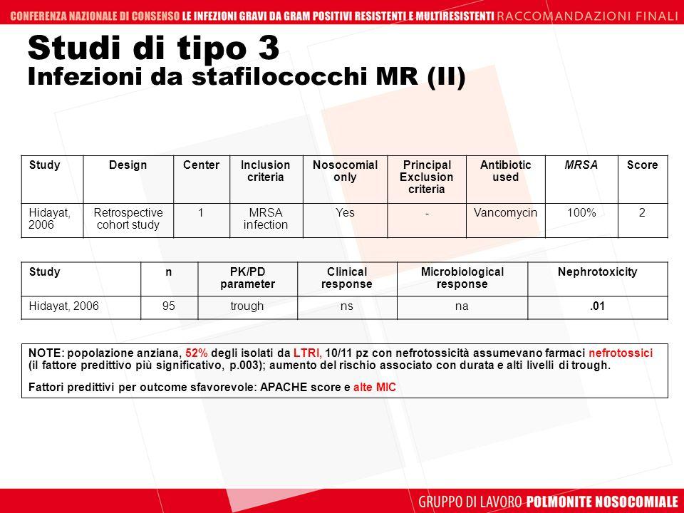 Studi di tipo 3 Infezioni da stafilococchi MR (II)