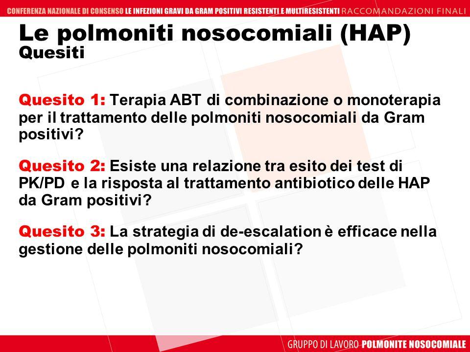 Le polmoniti nosocomiali (HAP) Quesiti