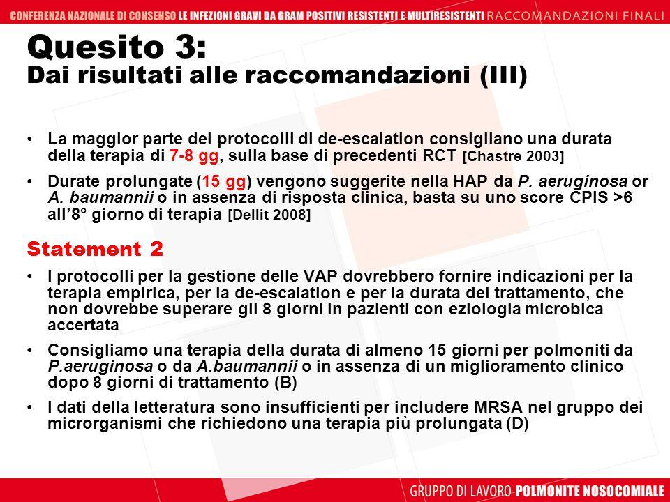 Quesito 3: Dai risultati alle raccomandazioni (III)