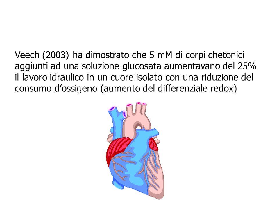 Veech (2003) ha dimostrato che 5 mM di corpi chetonici aggiunti ad una soluzione glucosata aumentavano del 25% il lavoro idraulico in un cuore isolato con una riduzione del consumo d'ossigeno (aumento del differenziale redox)