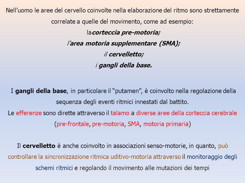 lacorteccia pre-motoria; l'area motoria supplementare (SMA);