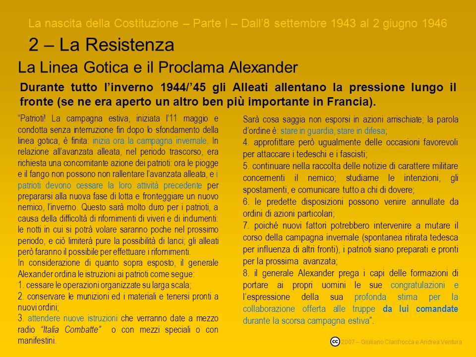 2 – La Resistenza La Linea Gotica e il Proclama Alexander