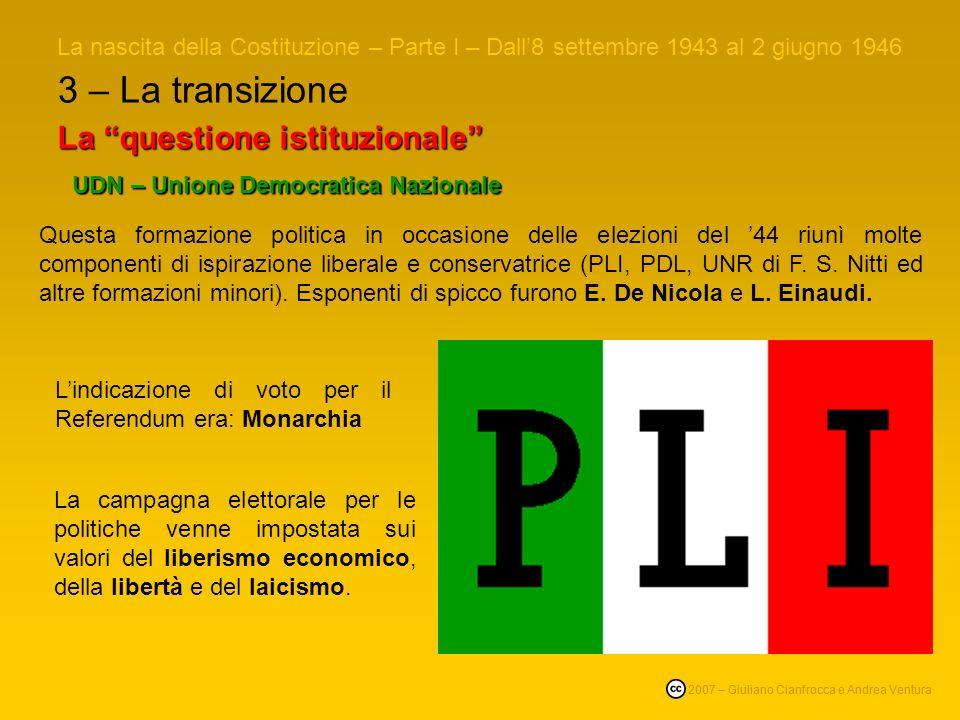 3 – La transizione La questione istituzionale