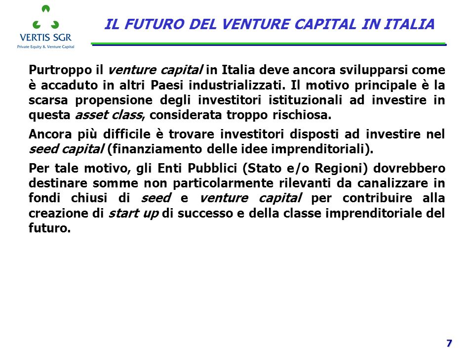 IL FUTURO DEL VENTURE CAPITAL IN ITALIA