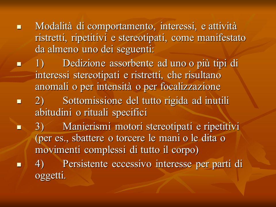 Modalità di comportamento, interessi, e attività ristretti, ripetitivi e stereotipati, come manifestato da almeno uno dei seguenti: