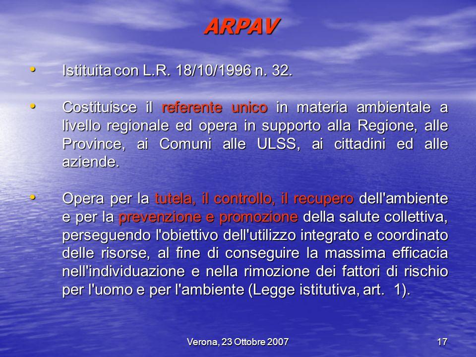 ARPAV Istituita con L.R. 18/10/1996 n. 32.