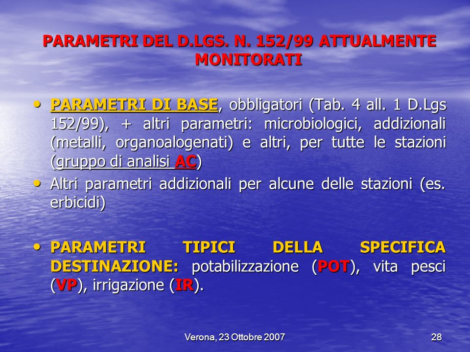 PARAMETRI DEL D.LGS. N. 152/99 ATTUALMENTE MONITORATI