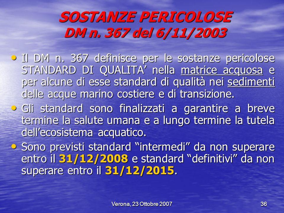 SOSTANZE PERICOLOSE DM n. 367 del 6/11/2003