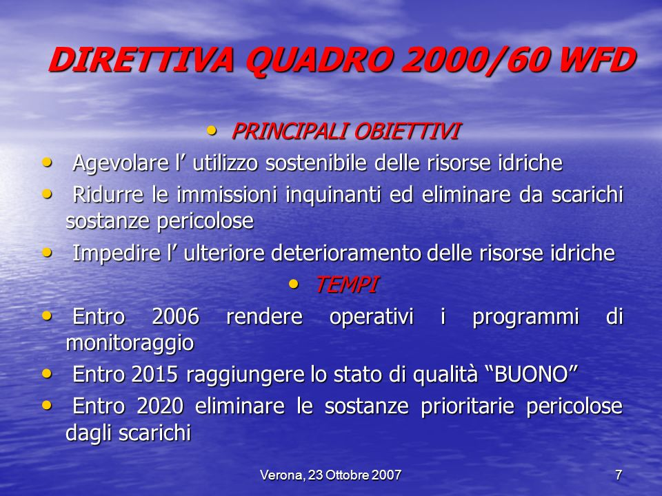 DIRETTIVA QUADRO 2000/60 WFD PRINCIPALI OBIETTIVI
