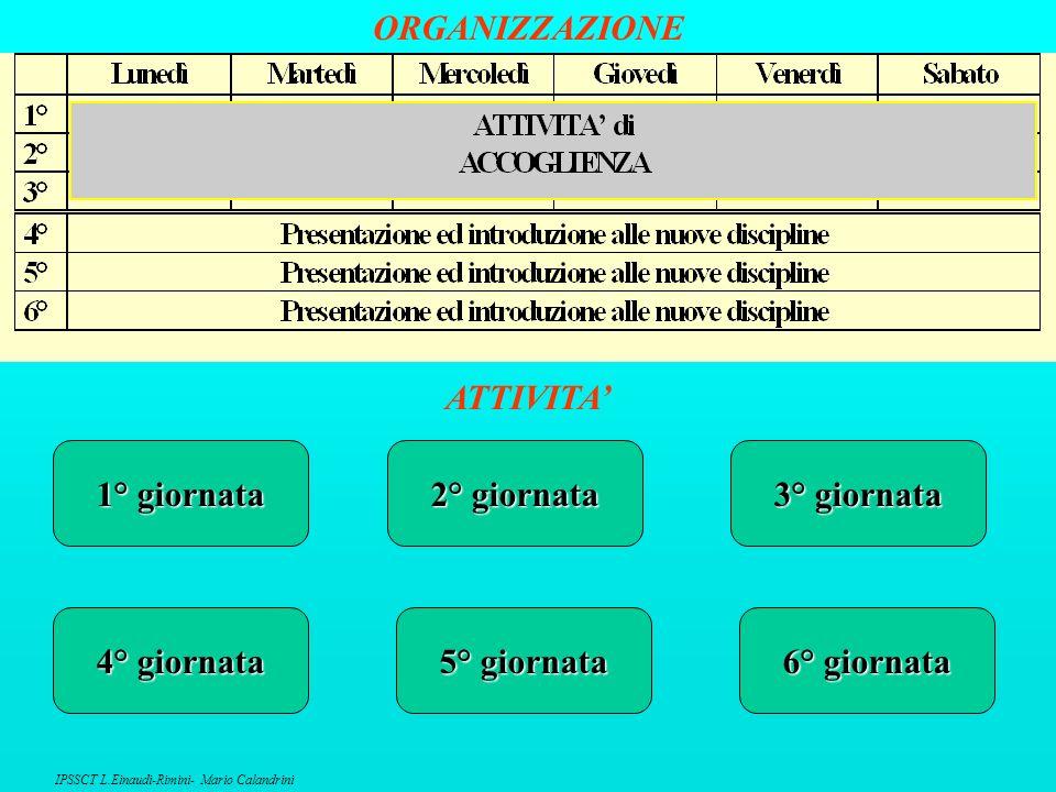 ORGANIZZAZIONE ATTIVITA' 1° giornata 2° giornata 3° giornata