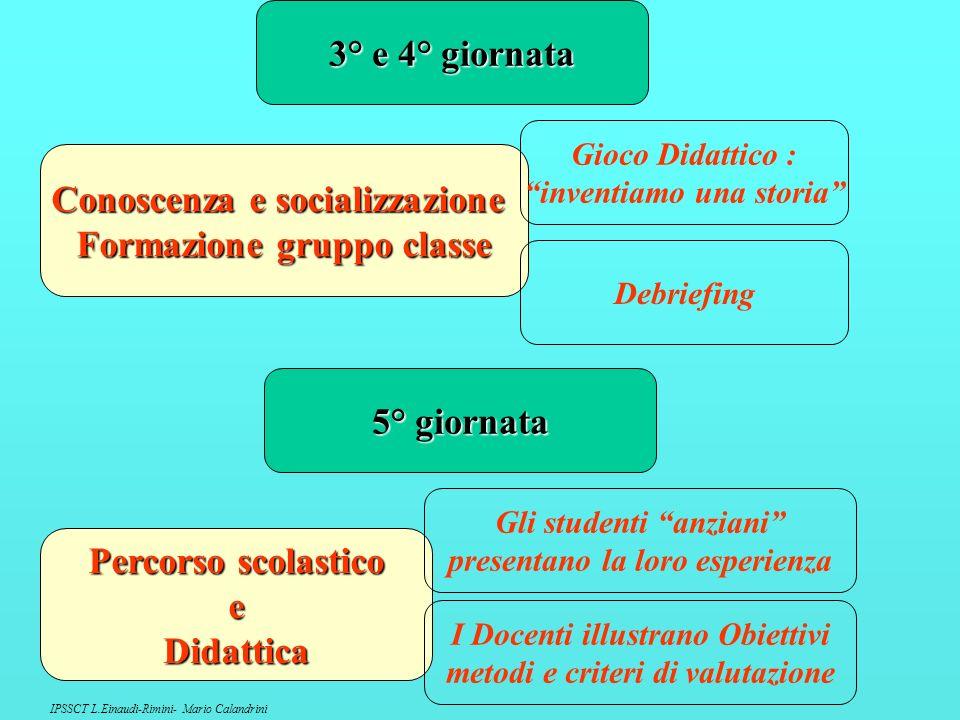 Conoscenza e socializzazione Formazione gruppo classe