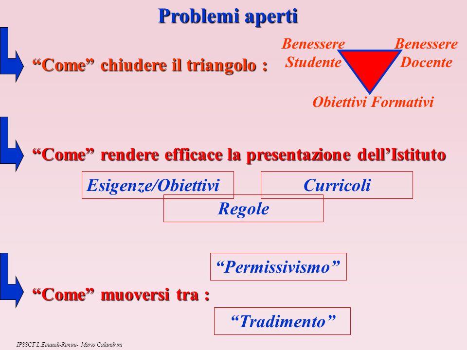Problemi aperti Come chiudere il triangolo :