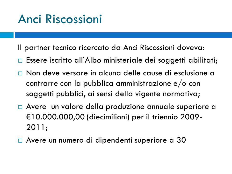 Anci Riscossioni Il partner tecnico ricercato da Anci Riscossioni doveva: Essere iscritto all'Albo ministeriale dei soggetti abilitati;
