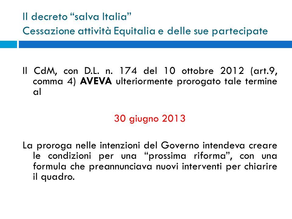 Il decreto salva Italia Cessazione attività Equitalia e delle sue partecipate
