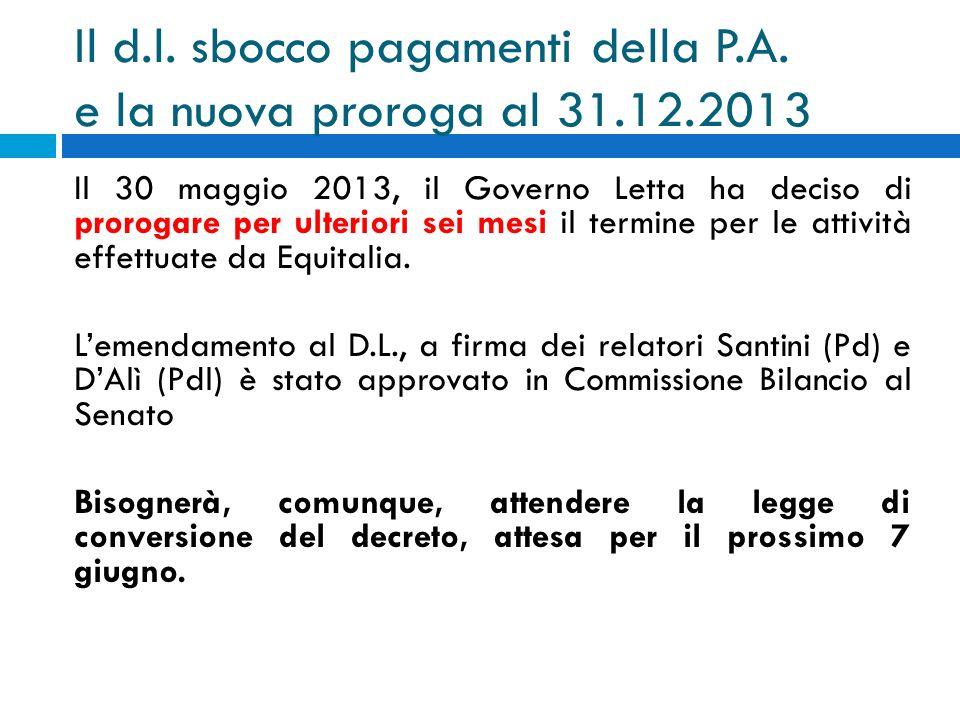Il d.l. sbocco pagamenti della P.A. e la nuova proroga al 31.12.2013