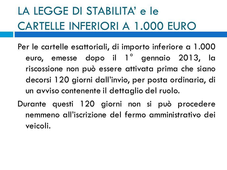 LA LEGGE DI STABILITA' e le CARTELLE INFERIORI A 1.000 EURO