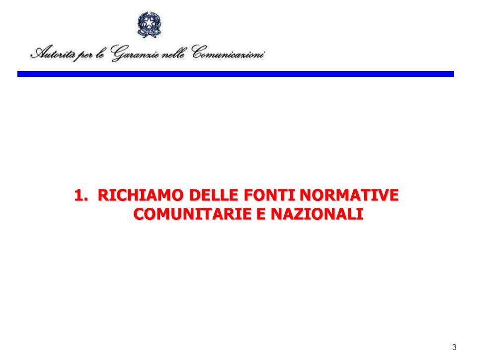 RICHIAMO DELLE FONTI NORMATIVE COMUNITARIE E NAZIONALI