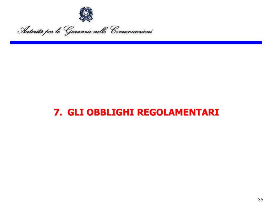 7. GLI OBBLIGHI REGOLAMENTARI