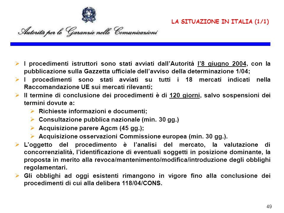 LA SITUAZIONE IN ITALIA (1/1)