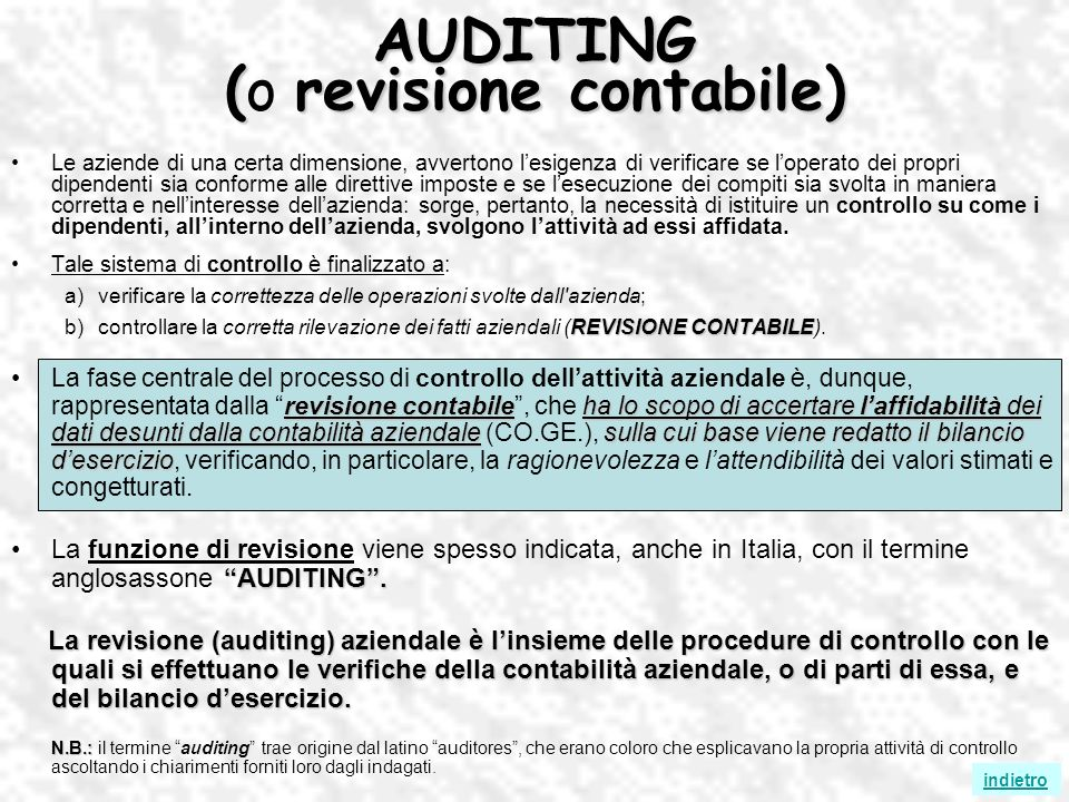 AUDITING (o revisione contabile)