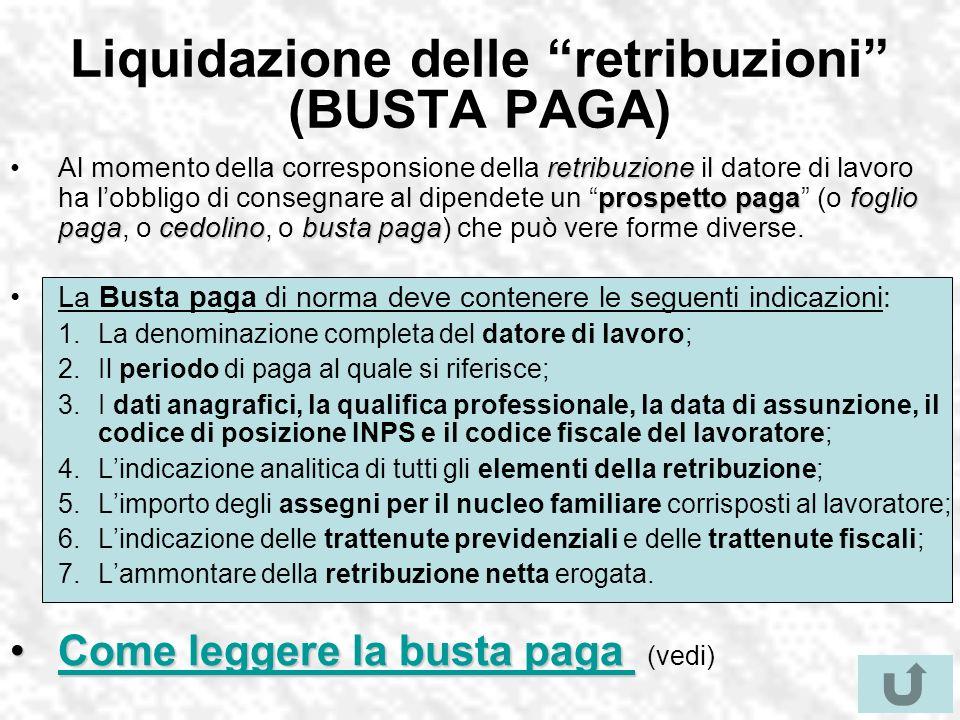 Liquidazione delle retribuzioni (BUSTA PAGA)