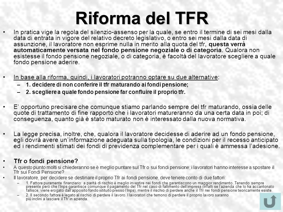 Riforma del TFR