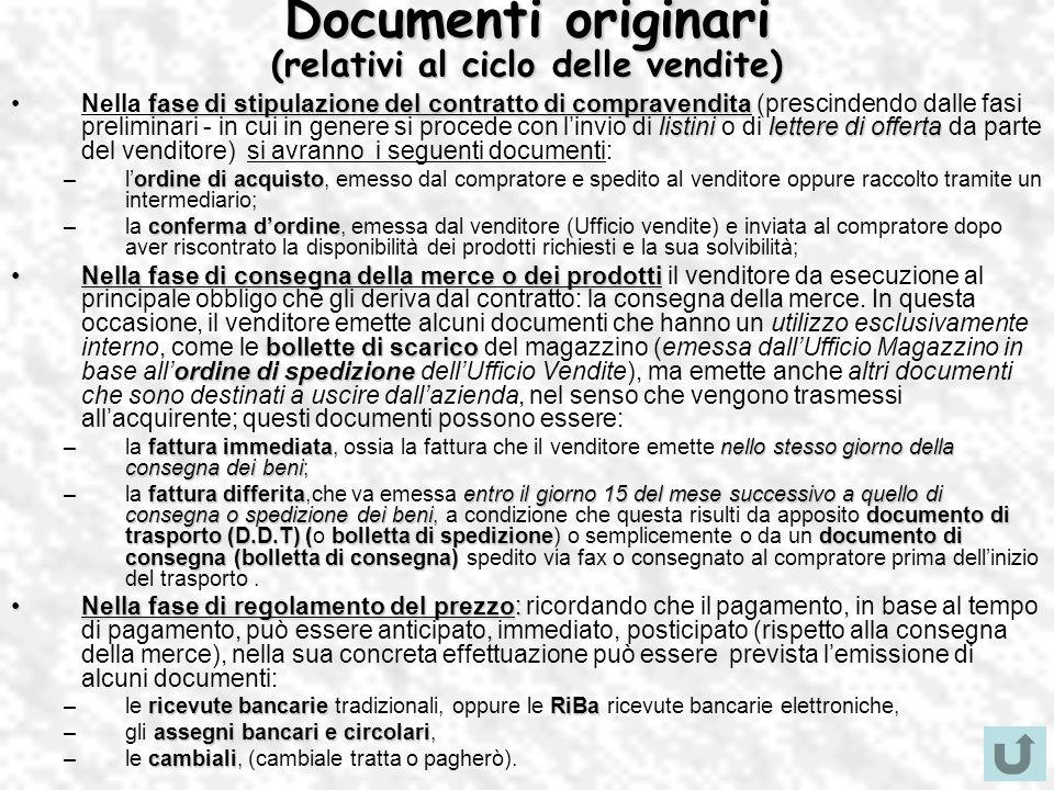 Documenti originari (relativi al ciclo delle vendite)