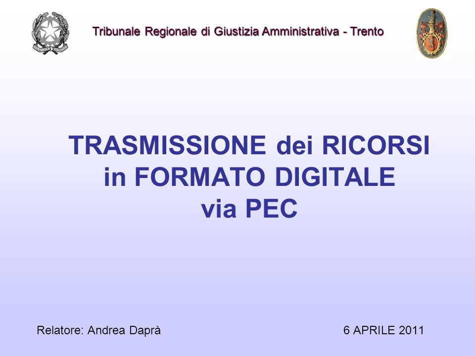 TRASMISSIONE dei RICORSI in FORMATO DIGITALE via PEC