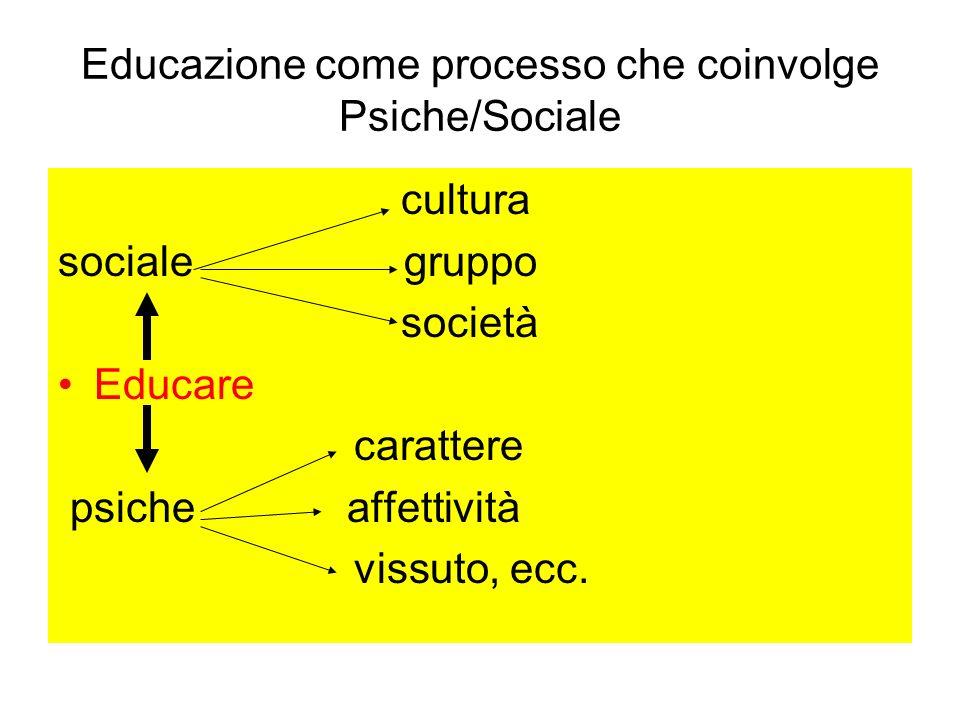 Educazione come processo che coinvolge Psiche/Sociale