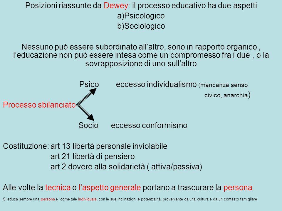 Posizioni riassunte da Dewey: il processo educativo ha due aspetti
