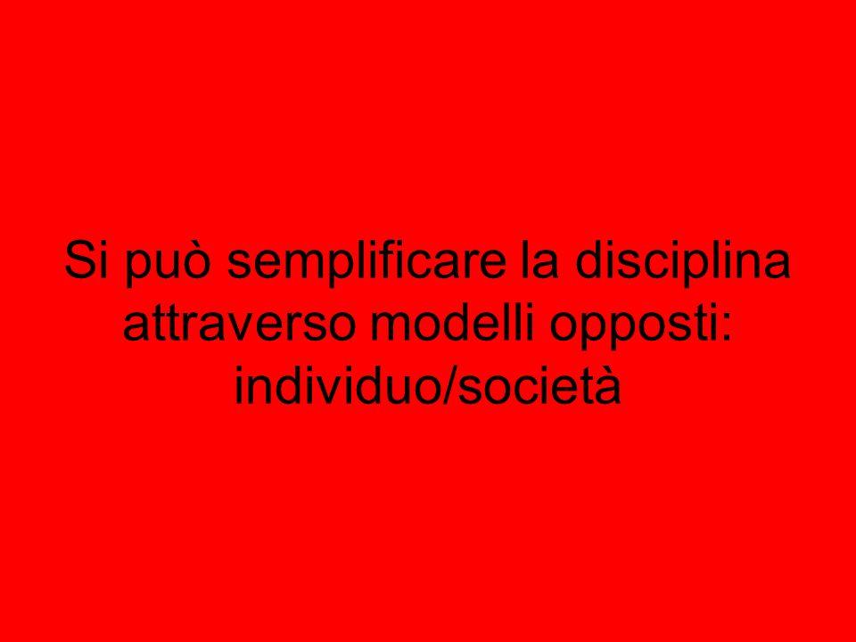 Si può semplificare la disciplina attraverso modelli opposti: individuo/società