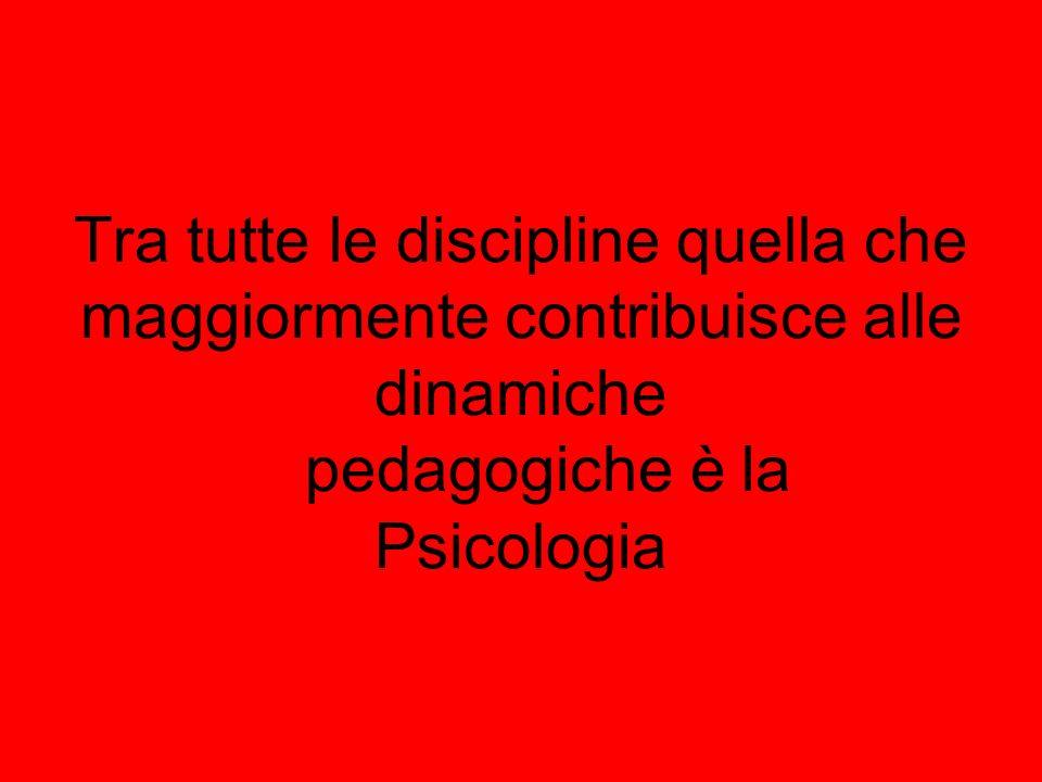 Tra tutte le discipline quella che maggiormente contribuisce alle dinamiche pedagogiche è la Psicologia