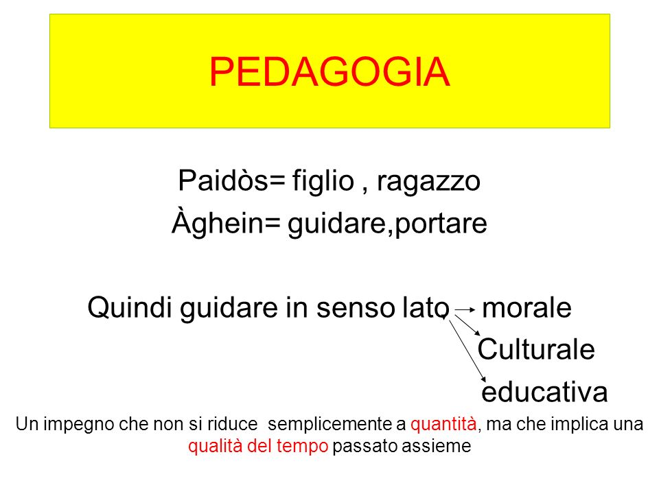 PEDAGOGIA Paidòs= figlio , ragazzo Àghein= guidare,portare