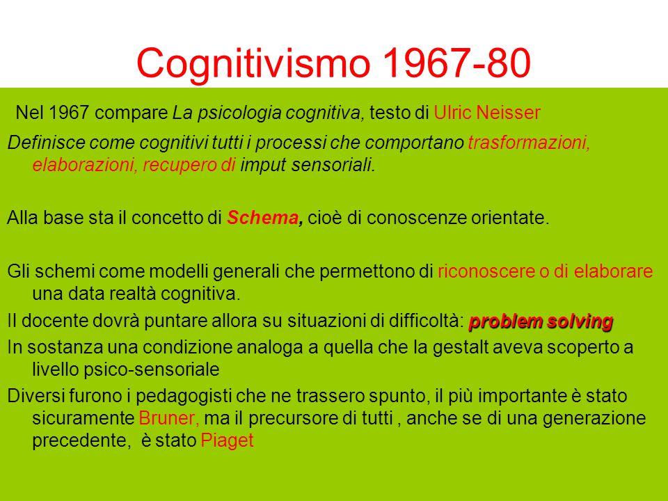 Cognitivismo 1967-80 Nel 1967 compare La psicologia cognitiva, testo di Ulric Neisser.