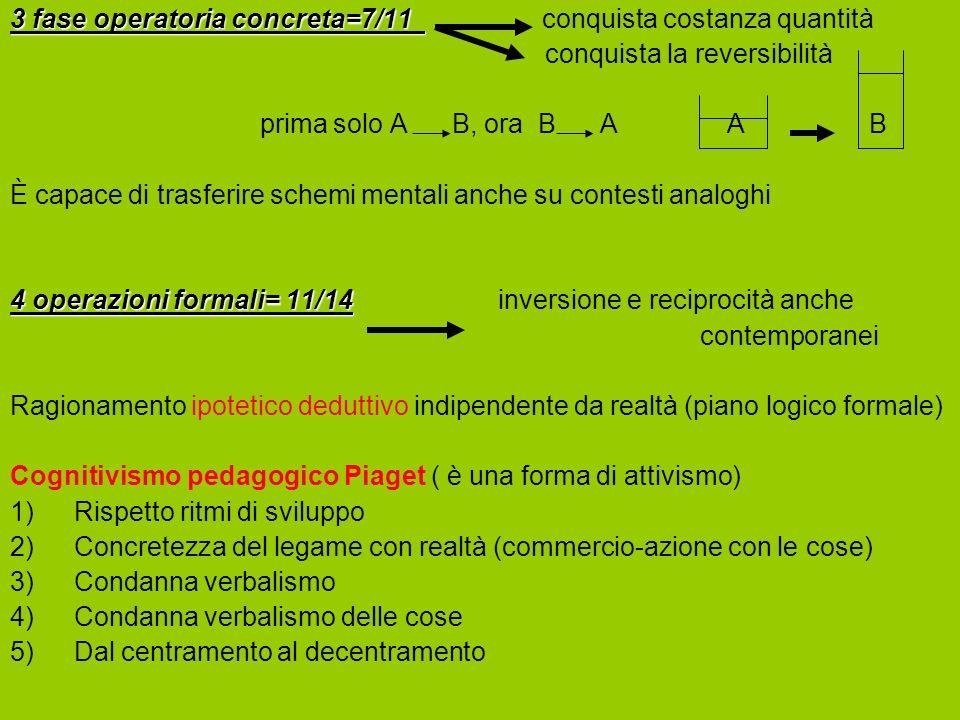 3 fase operatoria concreta=7/11 conquista costanza quantità