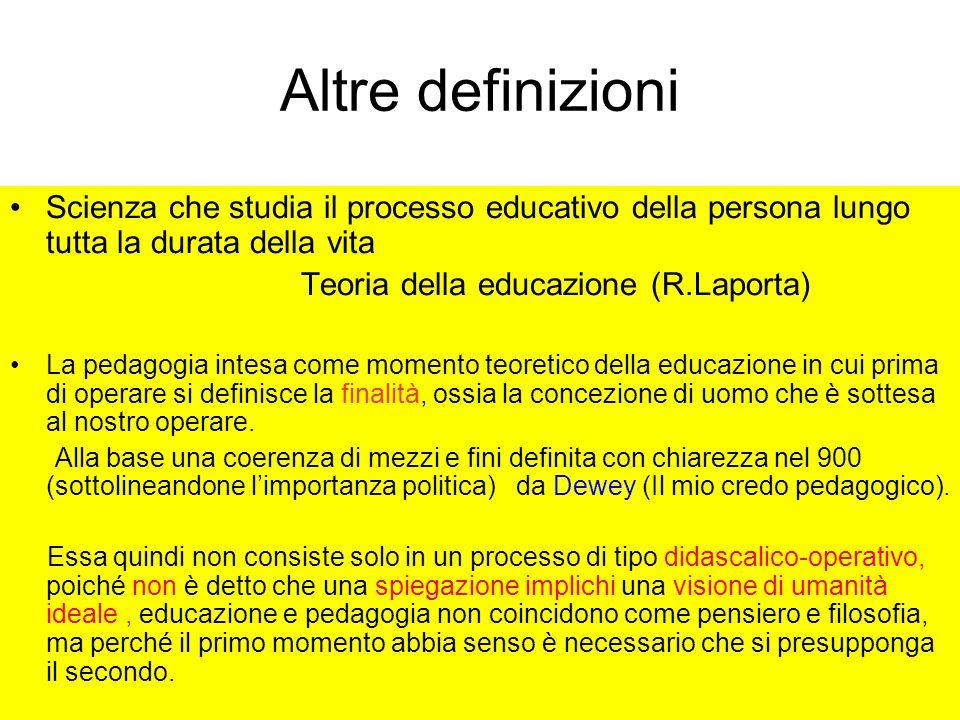 Altre definizioni Scienza che studia il processo educativo della persona lungo tutta la durata della vita.