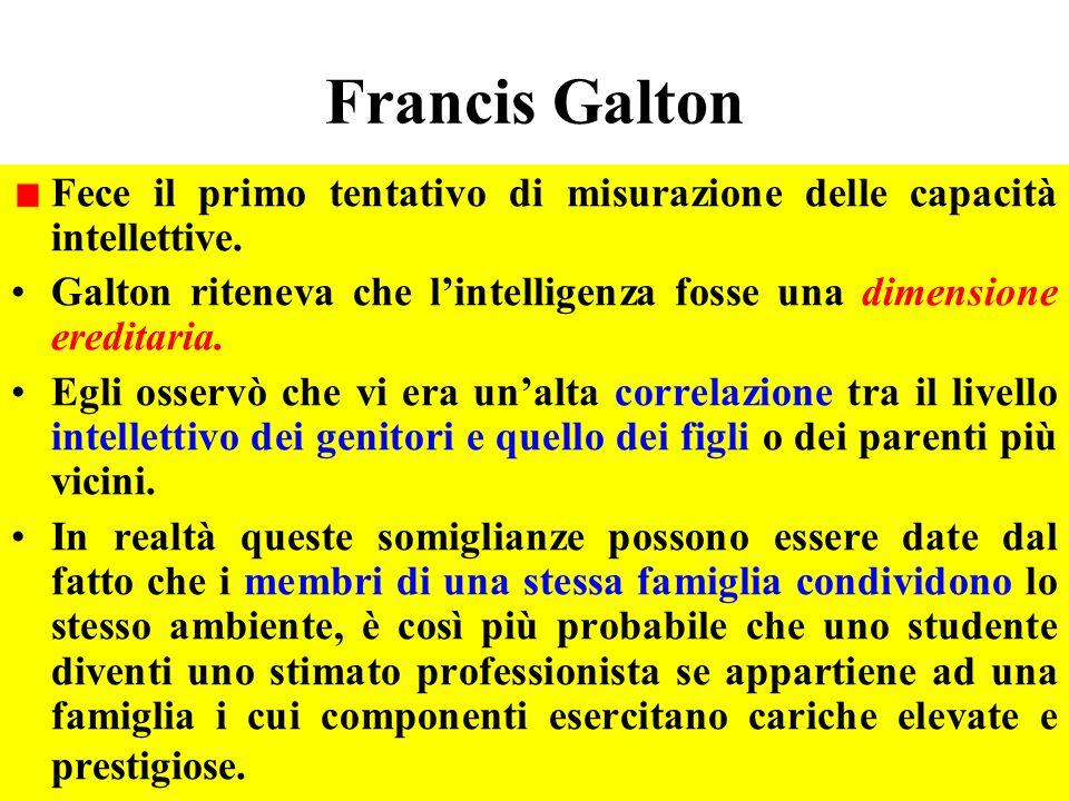 Francis Galton Fece il primo tentativo di misurazione delle capacità intellettive.